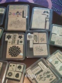 18 SETS Wood Wooden Mount Rubber Stamps Stampin' Up Huge Lot Stamping Collection