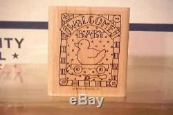 1998 STAMPIN UP Birthday Welcome Baby Marriage For You Rubber Stamp Set- 4 Piece