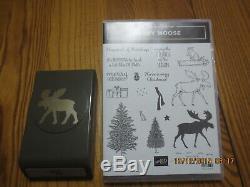 2 pc Stampin Up Moose set- Merry Moose 17 stamps & Matching Punch