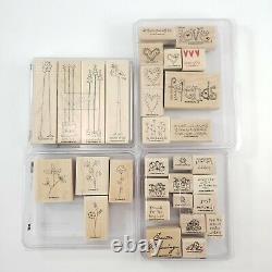 20 SETS Wood Wooden Mount Rubber Stamps Stampin' Up Huge Lot 150+ FREE SHIP