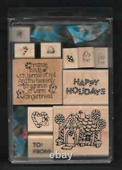 CANDY CANE CHRISTMAS SET Gingerbread Candy House Words Stampin' Up! Rubber Stamp