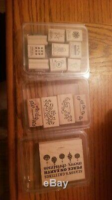 Collection Stampin' Up! WOOD Mounted Stamp Sets, Retired. Fast Shipping