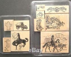 Die set + Stampin Up WILD WILD WEST BRONC BUSTER Cowboy Kid Horse Boots Stamps