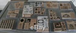 HUGE LOT Stampin Up Wooden Stamp Sets 14 sets 75 stamps Christmas and more