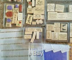 HUGE LOT of 41 SETS Stampin' Up! 370+ Wood Mounted Stamps
