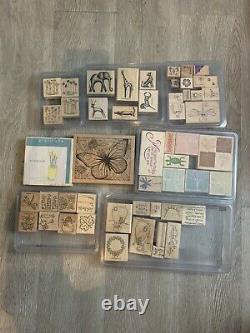 HUGE Lot 150 Wood Mount Rubber Stamps Stampin' Up! +Retired sets