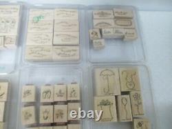 HUGE Lot 164 Wood Mount Rubber Stamps Stampin' Up 19 SETS
