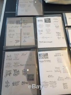 HUGE Stampin Up Craft Lot 26 Rubber Stamp Sets, CM Bag, Ink Pads Pens $500