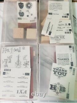 HUGE Stampin Up LOT Unmounted Wood Stamp Sets NEW RETIRED Rare Double Cases