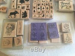 Huge Lot 160 Stamps STAMPIN UP STAMP SETS Rubber Wood Mounted and Unmounted