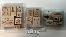 Huge Lot 194 Stamps STAMPIN UP STAMP SETS Rubber Wood Mounted and Unmounted