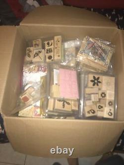 Huge Lot Of Stampin' Up Stamp Sets Wooden Rubber Stamps 50+
