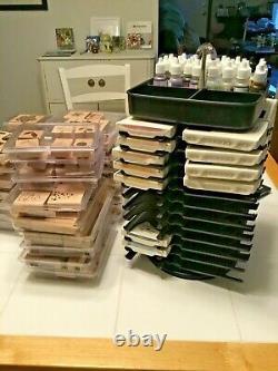 Huge Lot Stampin' Up 32 Stamp Sets, Color Caddy, 20 Ink Pads, 27 Ink Refills MORE