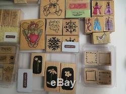 Huge Lot of 245 Rubber Stamps Wood Mounted Inkadinkado Stampin Up sets Hero Arts