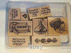 Huge Lot of 26 Retired Stampin Up Sets Assorted Wood Mount Rubber Stamps