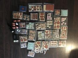 Huge Lot of 301 Wheel Stamps and Wood Mounted Rubber Stamps Stampin Up 31 Sets