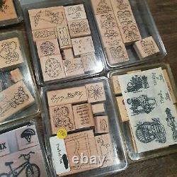 Huge Lot of 400 Wooden Rubber Stamps Stampin Up Love Animals Up With Box Sets