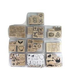 Huge Lot of 67 Stampin Up! Retired Mounted Wood Rubber Stamp Set New Unused