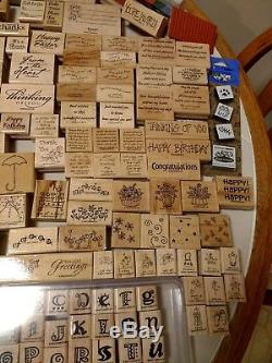 Huge Stampin Up Lot 300+ Rubber Stamps New &used Holiday Seasonal Alphabet+ Sets