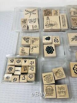 Huge Stampin Up Stamp Lot of Mixed Sets Phrases Holidays Flowers Rubber Stamps