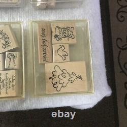 Huge Variety Lot of Wooden Stampin Up 25 Sets Rubber Stamps New & Used 1996-2001