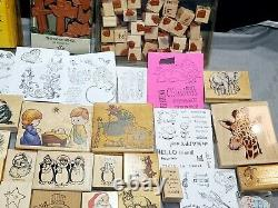 Huge lot 200+ Stampin Up Wooden Clear. Christmas, Animals, Letters, Greetings Set