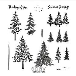 In the Pines Stampin Up! Photopolymer stamp set & Pine Woods Retired Dies NEW