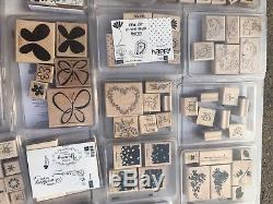 LOT 41 STAMPIN' UP STAMP SETS RARE & RETIRED NEW & USED plus wheels