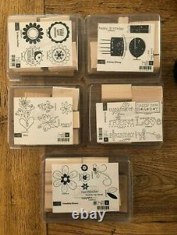 LOT of 14 Stampin' Up Rubber Stamp Sets 8 Rollers (New & Gently Used)