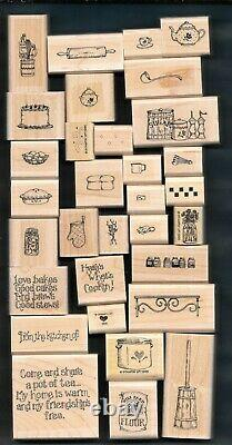 LOVE BAKES SET KITCHEN BAKER LOT Chef Cook Stampin' Up! 32 WOOD RUBBER STAMPS