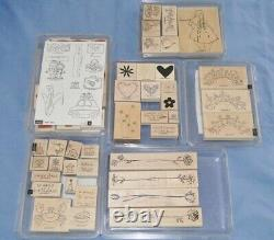 Large Lot 20 SETS Wood Wooden Mount Rubber Stamps Stampin' Up New & Used
