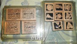 Lot 10 Sets 62 Wood Mount Stamps Stampin' Up Retired Flower Words Note Fanciful