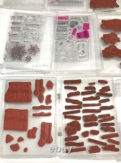 Lot 14 Stampin Up! Christmas Theme Red Rubber Photopolymer Stamp Sets 1 Die Set