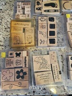 Lot 26 sets/over 200 Stampin Up Wood Mounted Rubber Stamps- Mix Themes