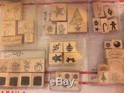 Lot 31+Stampin' Up Wood Rubber Stamp Sets Christmas Holiday Variety Words Gifts