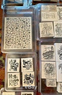 Lot 44 Stampin' Up Stamp Sets Rare & Retired New & Used Most Wood Mounted