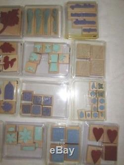 Lot Of 19 Retired Stampin' Up! Stamp Sets 114 Individual Wood Mounted Stamps