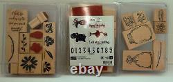 Lot Stampin Up Wood Block Stamps, Embossing Powder, Other Stamps. 17 sets