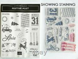 Lot of 14 Stampin Up Stamp Sets with holiday themes. 3 have coordinating dies
