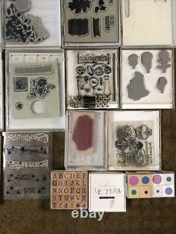 Lot of 20 Assorted Stampin' Up Sets Unmounted 171 Rubber Stamps Cling New & Used