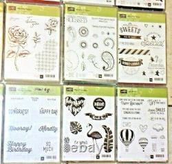 Lot of 36 Stampin' Up! Stamp Sets Mostly Unused- 12 with Coordinating Dies