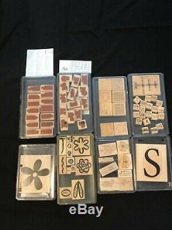 Lot of 8 Stampin' Up Wood Stamp Sets Including RARE & VINTAGE Sets