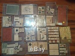 Mixed Lot of Stampin Up Sets 150+ Rubber Stamps Alphabets, Phrases, Backgrounds