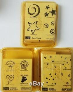 NEW IN PACKAGE Stampin' Up Rubber Stamp Sets 10 Packs 4 Ink Pads 129 pcs Retired