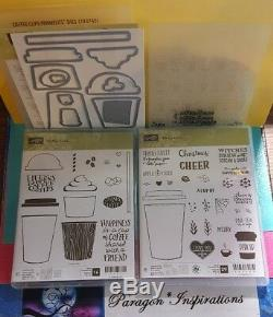 NEW Stampin' Up COFFEE & MERRY CAFE Stamp Sets COFFEE CUP Framelits Dies EF Lot