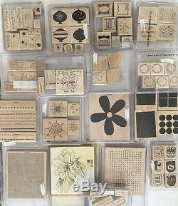 NEW Stampin Up Wood Mounted Rubber Stamp Sets Huge Paper Craft Lot Scrapbooking