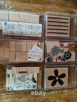 NEW & used Huge Lot 175+ mounted unmounted STAMPIN' UP STAMP SETS Rubber Wood