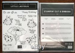 New, Stampin Up LITTLE LADYBUG stamp Set & DIES Flower, Cute Sentiments Bundle