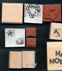 PARTIAL CANDY CANE CHRISTMAS SET Gingerbread Candy House Stampin Up Rubber Stamp