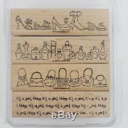 RARE Stampin Up ITS A GIRL THING 2004 Wood Mounted Rubber Stamp SET VINTAGE